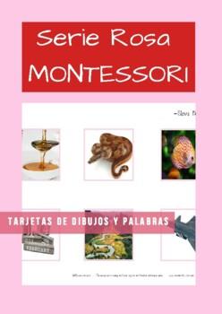 Serie Rosa (pink Series) en Español Tarjetas grandes de dibujos y palbras