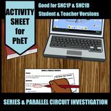 Series & Parallel Circuit Investigation Simulation