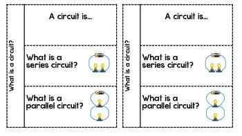 Series & Parallel Circuits Foldable with Science Comprehension Inquiries
