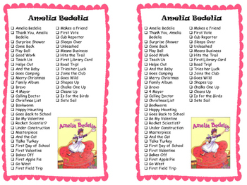 Series Reading Check List: Amelia Bedelia