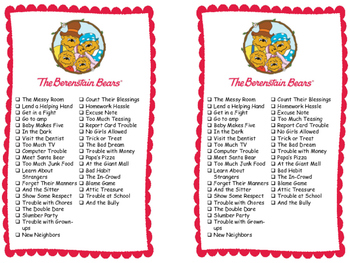 Series Reading Check List: Berenstain Bears