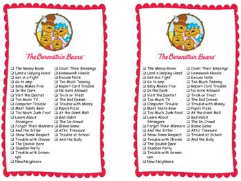 Series Reading Check List: Berenstain Bears