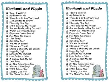 Series Reading Check List: Elephant & Piggie