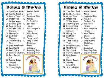 Series Reading Check List: Henry & Mudge