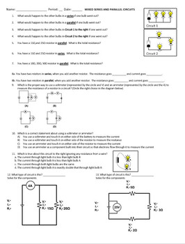 Series and Parallel Circuit Worksheet by James Holden | TpT