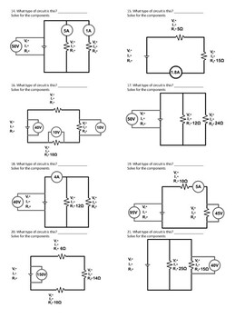 Series and Parallel Circuit Worksheet
