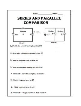 Typical series and parallel circuits worksheet with answers Awesome