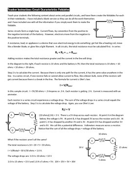 Series and Parallel Circuits Foldables and Lesson