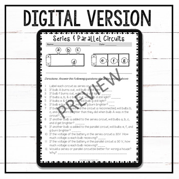 Series and Parallel Circuits Worksheet Set