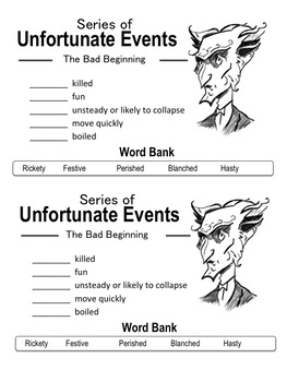 Series of Unfortunate Events (Netflix) Vocabulary Activity