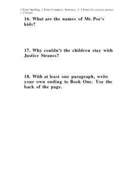 Series of Unfortunate Events The Bad Beginning Test