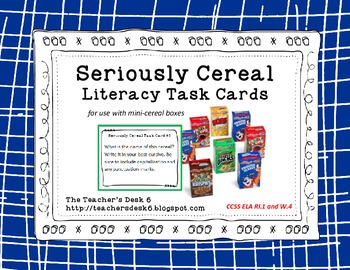 Seriously Cereal Literacy Task Cards CCSS Aligned