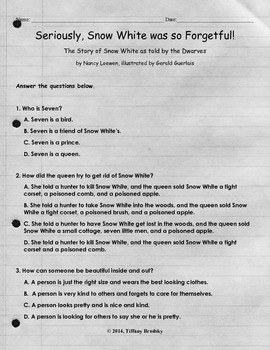 Seriously Snow White was So Forgetful Comprehension Test & Answer Key