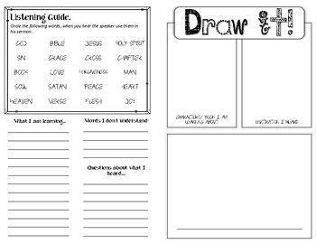 Sermon Notes for kids. Template Set 1