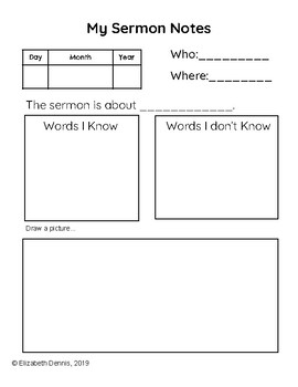 Sermon Notes for First Graders or Early Writers