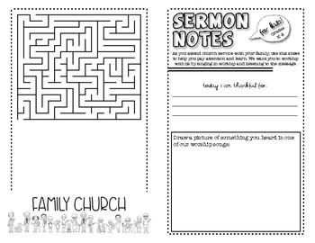 Sermon Notes for Kids (Grades K-4)