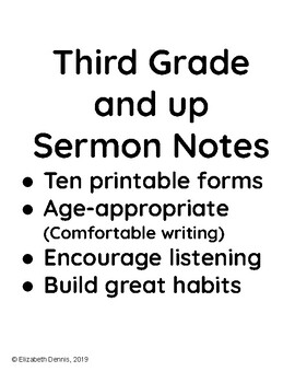 Sermon Notes for Third Grade and up