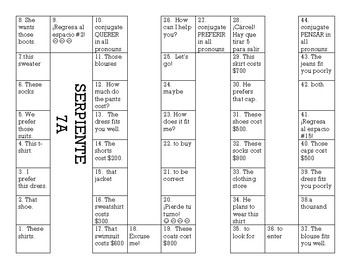Serpiente (Board Game) Realidades I - 7A