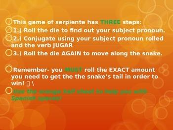 Serpiente game ppt the verb jugar