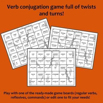 Serpientes y Escaleras Spanish Verb Review Game