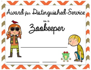 Printable Service Award Certificate: Classroom Zookeeper