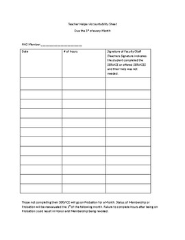 Service Hours Template: Teacher Helper Accountability