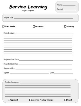 Service Learning/Community Service Project: Planning & Reflection Packet