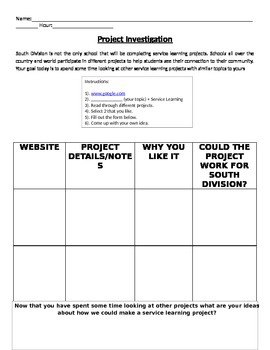 Service Learning: Investigating Other Projects