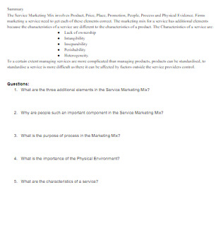 Service Marketing Mix Extended Guided Notes with Answer Key