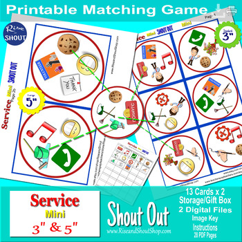 Service Mini Shout Out Matching Game; Promote Kindness; Spot the Match Game