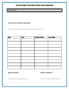Service Project Log Form
