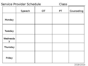 Service Provider Schedule Template