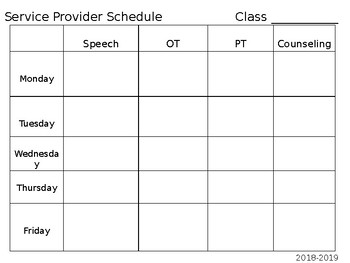 Service Provider Schedule Template By Teaching3rdinthe718 Tpt