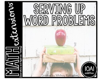 Serving Up Word Problems (Math Extensions - 1.OA.1 Addition)