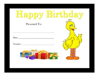 Sesame Street Birthday Certificates (Includes 10 Certificates)