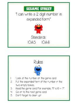 Sesame Street Expanded Form Math File Folder Game Place Value Tens & Ones