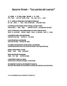 Sesame Street Spanish Body Parts song lyrics