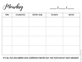 Session Planner ABA Therapy Version