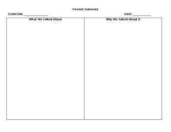 Session summary Template