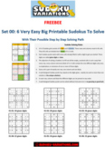 Set 00: 6 Very Easy Big Printable Sudokus with Their Step-