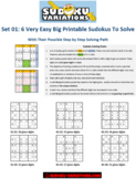 Set 01: 6 Very Easy Big Printable Sudokus with Their Step-