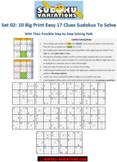 Set 02: 10 Easy Big Printable 17 Clues Sudokus + Step-by-S