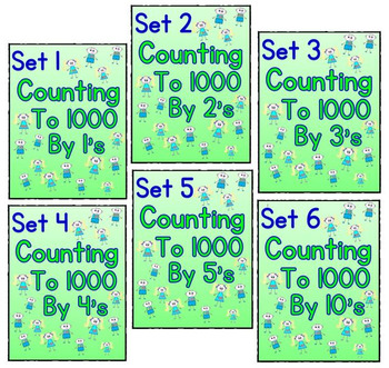 Counting to 1000 By 1, 2, 3, 4, 5, and 10 - Set 1 - 6 Worksheet Bundle