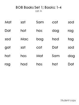 Set 1 BOB Books CVC Word Fluency; books 1-4