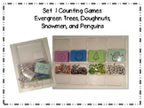 Set 1 Number and Counting Games: Evergreen Trees, Donuts, Snowmen, and Penguins
