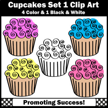 Set 1 Cupcakes Clip Art, Baking Clipart, Cooking Theme Commercial Use SPS