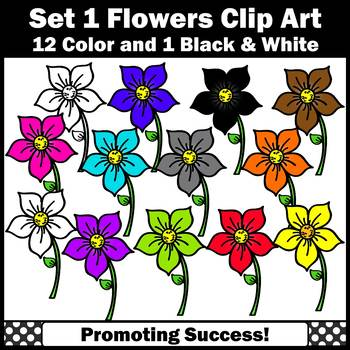 Set 1 Flower Clip Art, Spring or Summer Clip Art,  Colorful Flowers Clipart SPS