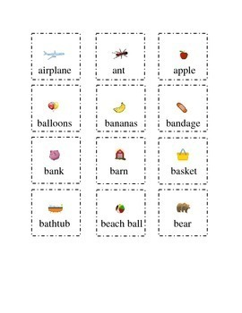 Set 1 Sight Words Letters A and B Cut and Paste Kindergarten Flash Cards