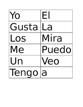Set 1 of HF words for Kindergarten Bilingual- SPANISH