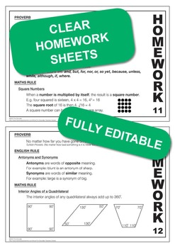 Set 2, English & Math Rules; Weekly Homework Sheets & PowerPoint Lessons.